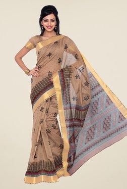 32baee98e386 Beige And Black Handloom Linen Moklin Saree - Cotton Koleksi Best ...