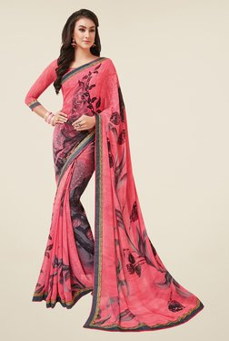 Salwar Studio Pink & Grey Floral Print Saree