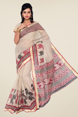 Salwar Studio Beige And Maroon Printed Saree - Mp000000000327584