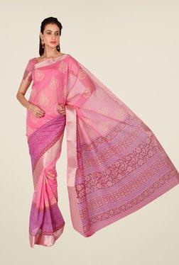 Salwar Studio Pink Floral Print Saree