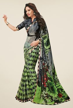 Salwar Studio Green & Grey Floral Print Saree