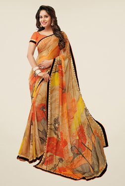 Salwar Studio Orange & Beige Floral Print Synthetic Saree