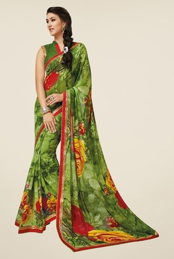 Salwar Studio Green & Red Floral Print Saree