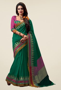 Salwar Studio Sea Green Solid Saree