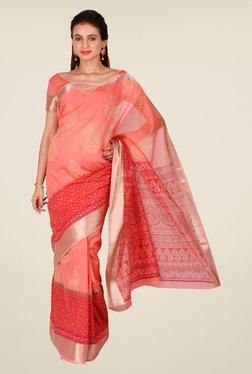 Salwar Studio Coral & Red Floral Print Saree