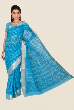 Salwar Studio Aqua Blue Printed Saree