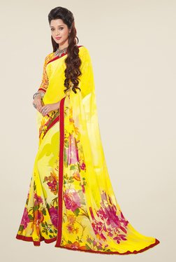 Salwar Studio Yellow And Red Floral Print Saree
