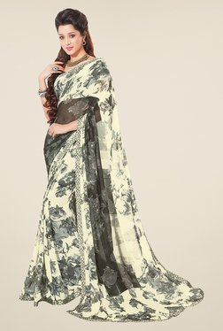 Salwar Studio Off White And Grey Floral Print Saree