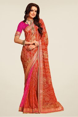 Salwar Studio Red & Pink Cotton Blend Printed Saree