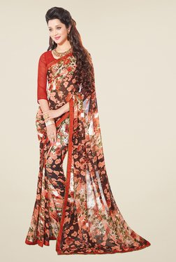 Salwar Studio Brown And White Floral Print Saree