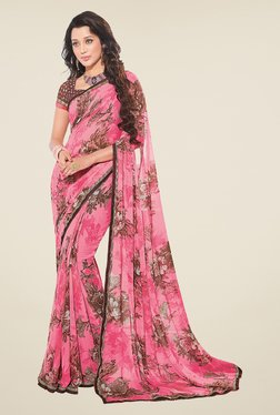 Salwar Studio Light Pink And Brown Floral Print Saree