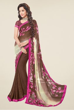 Salwar Studio Brown And Pink Floral Print Saree