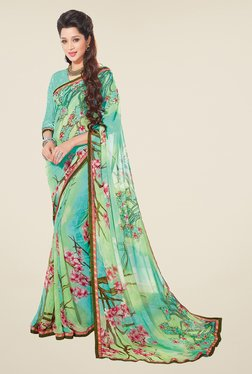 Salwar Studio Pista And Pink Floral Print Saree