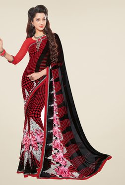 Salwar Studio Red And Black Floral Print Saree