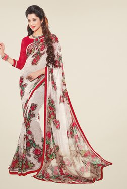Salwar Studio Off White And Red Floral Print Saree