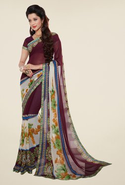 Salwar Studio Burgundy And Multicolor Floral Print Saree