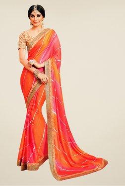 Salwar Studio Orange & Pink Printed Saree