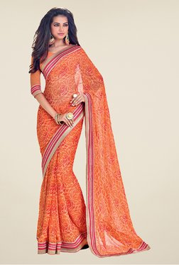 Salwar Studio Orange & Pink Floral Print Saree