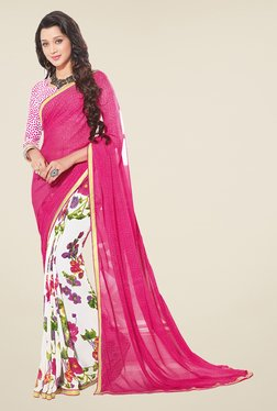 Salwar Studio Pink And White Floral Print Saree