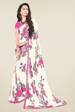 Salwar Studio Off White And Light Pink Floral Print Saree