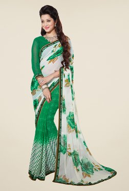 Salwar Studio Green And White Floral Print Saree