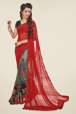 Salwar Studio Red And Grey Floral Print Saree