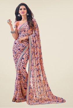 Salwar Studio Light Pink & Blue Paisley Print Saree
