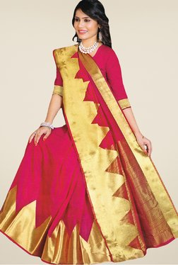 Salwar Studio Pink And Golden Banarasi Silk Printed Saree