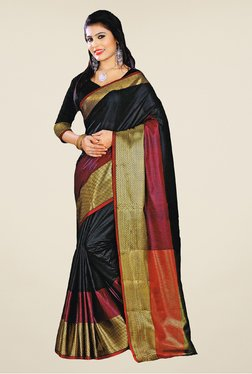 Salwar Studio Black And Maroon Banarasi Silk Saree