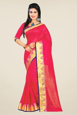 Salwar Studio Pink And Golden Banarasi Silk Saree