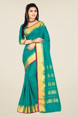 Salwar Studio Sea Green And Golden Banarasi Silk Saree