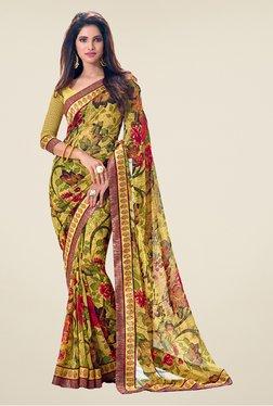 Salwar Studio Yellow & Green Floral Print Saree