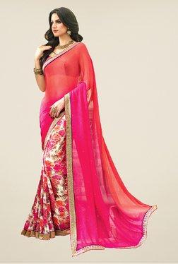 Salwar Studio Pink & Orange Floral Print Saree