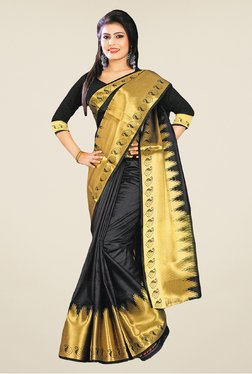 Salwar Studio Black And Golden Banarasi Silk Printed Saree