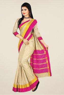 Salwar Studio Beige And Pink Banarasi Silk Printed Saree