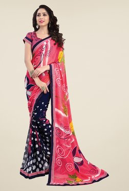 Salwar Studio Pink And Navy Blue Printed Saree