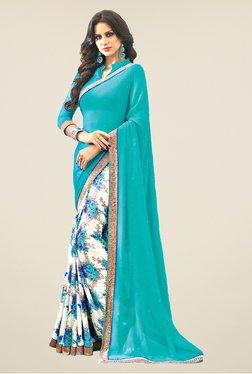 Salwar Studio Turquoise & Cream Floral Print Saree