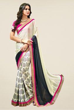 Salwar Studio Beige & Black Printed Saree - Mp000000000327794