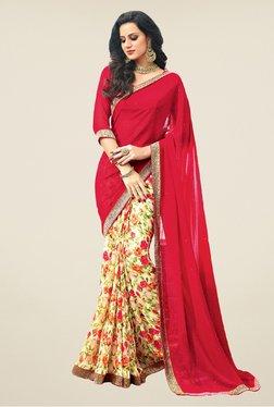 Salwar Studio Red & Beige Floral Print Saree