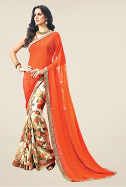 Salwar Studio Orange & Beige Floral Print Saree