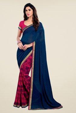 Salwar Studio Navy Blue & Pink Floral Print Saree