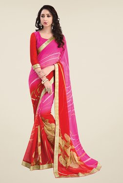 Salwar Studio Pink And Red Printed Saree