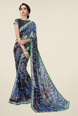 Salwar Studio Black And Grey Printed Saree