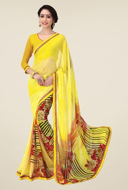 Salwar Studio Yellow And Red Printed Saree