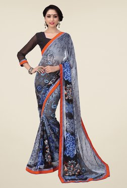 Salwar Studio Black And Grey Floral Print Saree