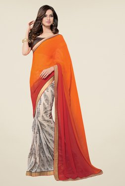 Salwar Studio Orange & Off White Printed Saree