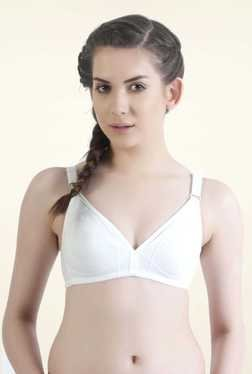 Bwitch White Cotton Non-padded Solid Seamless Bra