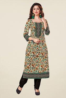 Salwar Studio Beige & Green Floral Print Unstitched Kurti