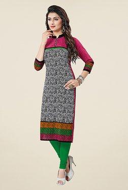 Salwar Studio Black & Pink Printed Unstitched Kurti