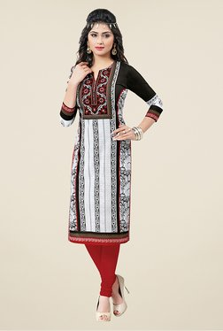 Salwar Studio Black & White Floral Print Unstitched Kurti